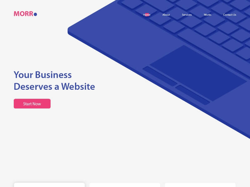 MORR business website theme UI Design
