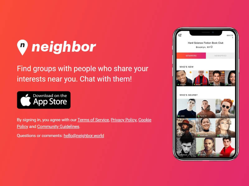 neighbor world iOS app landing page design