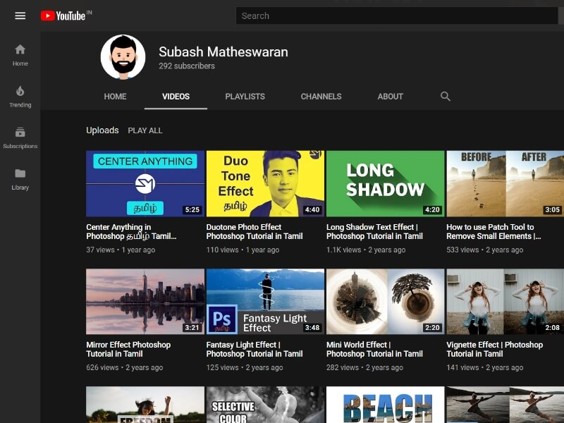 Tamil photoshop tutorials youtube channel